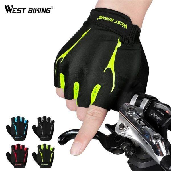 Guantes de ciclismo WEST BIKING, medio dedo, antideslizantes, a prueba de golpes con almohadilla de gel