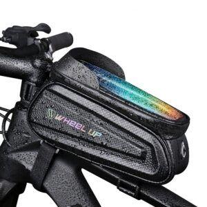Funda de teléfono impermeable con pantalla táctil 7,0 pulgadas para bicicleta, bolsa de tubo frontal superior,