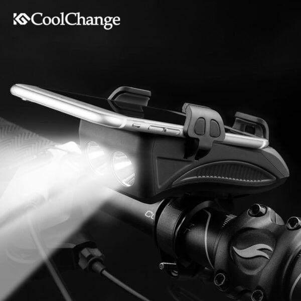 Luz linterna recargable CoolChange con USB para bicicleta, soporte para teléfono, luz Led con bocina para ciclismo, 2000/4000mAh