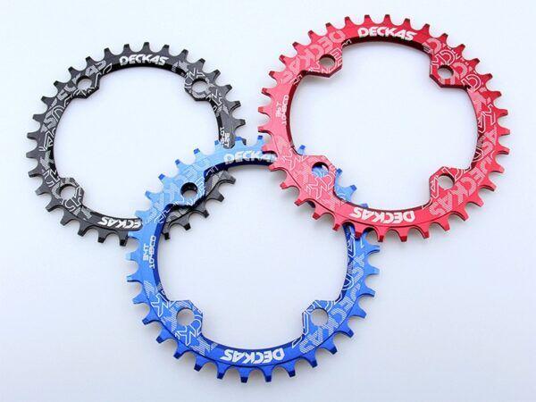 Plato redondo estrecho ancho para bicicleta de montaña 32T 34T 36T 38T corona platos Deckas 104BCD