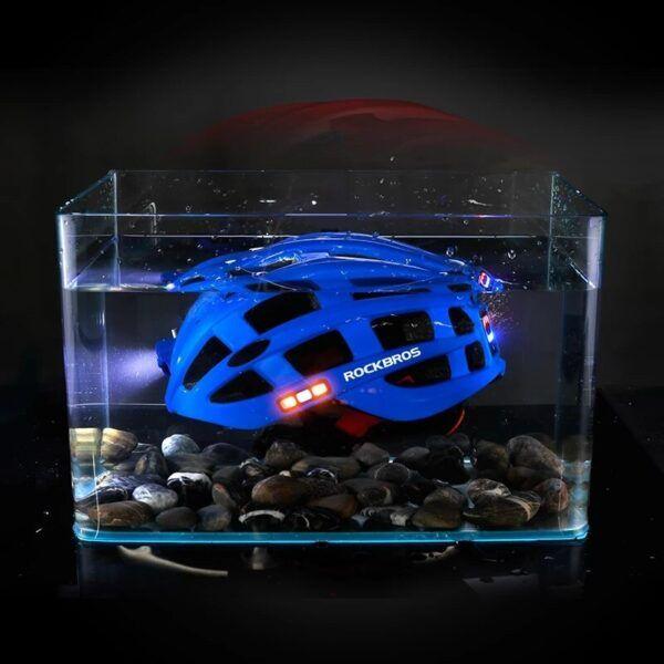 Casco de ciclismo nocturno con faro de bicicleta ROCKBROS con luz de advertencia brillante recargable , casco de bicicleta MTB de seguridad deportiva