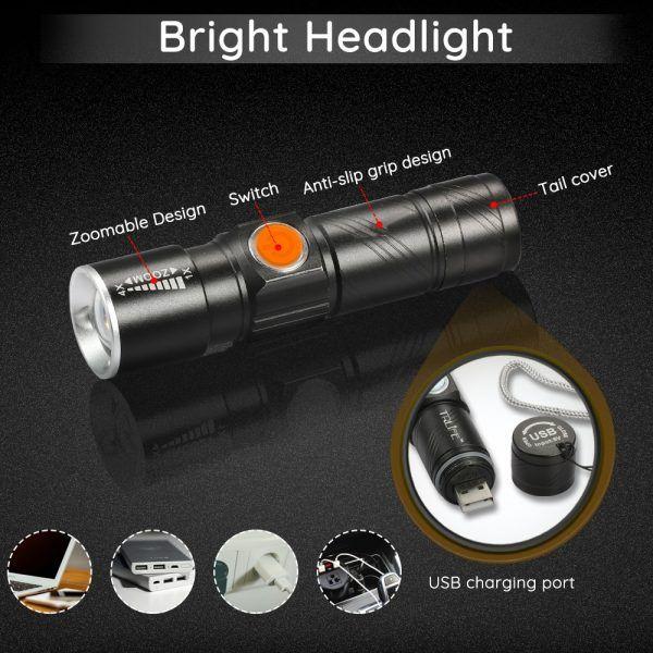 Juego de luces LED 3 en 1 para bicicleta, 8000 lúmenes, recargable vía USB, resistentes al agua, con Zoom superbrillante, luz trasera para bicicleta de montaña