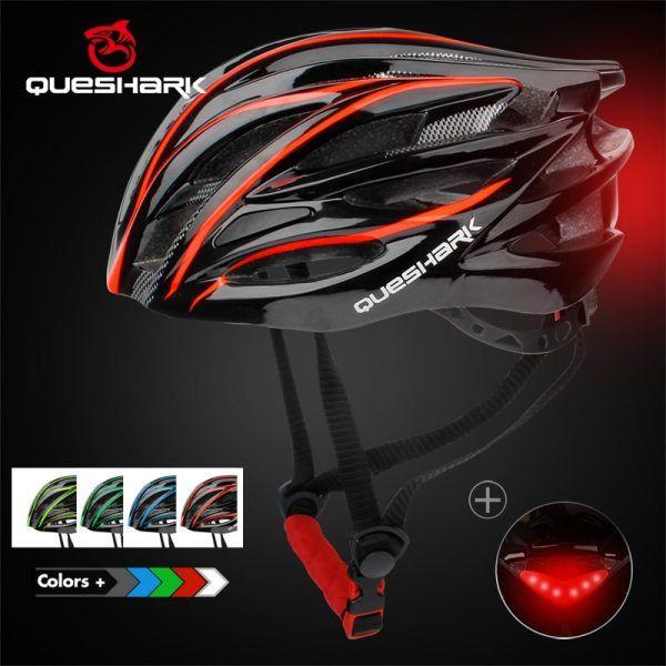 Casco de ciclismo ultraligero QUESHARK para hombres y mujeres con luz trasera LED