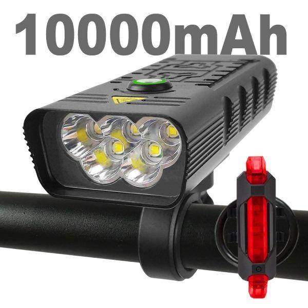 Luz LED superbrillante para bicicleta, faro delantero y trasero de 10000mAh, recargable vía USB, 3000 lúmenes, 5T13