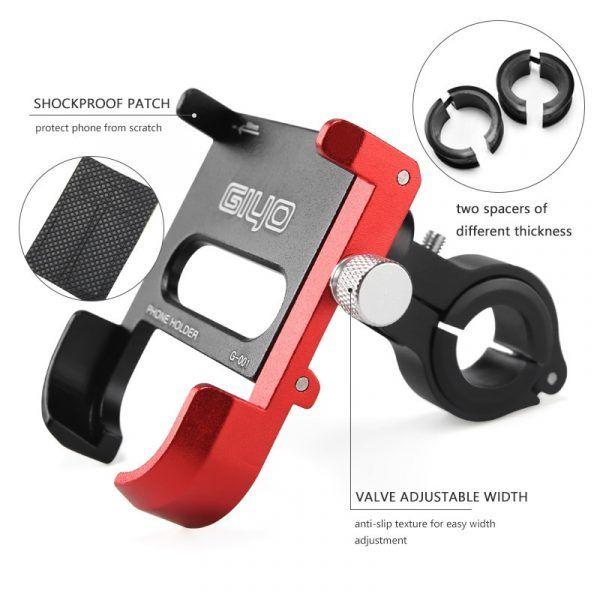 Soporte para teléfono de bicicleta de aleación de aluminio GIYO