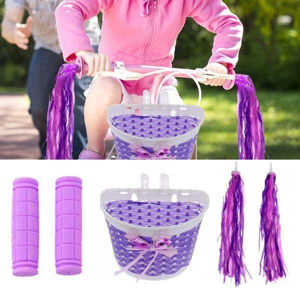 Cesta de bicicleta con empuñaduras de manillar, borlas y serpentinas coloridas para niños