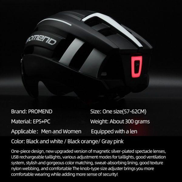 Casco de bicicleta PROMEND moldeado integralmente recargable con luz LED
