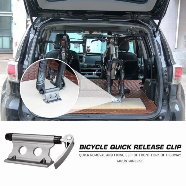 Soporte portable para horquilla delantera de bicicleta abrazadera fija de liberación rápida para viajes en coche