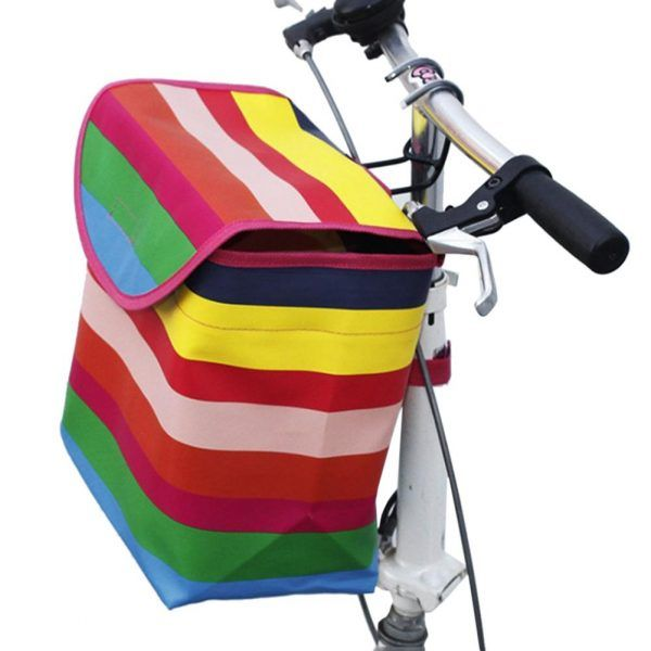 Cesta de bolso colgante para bicicleta con cubierta de lona plegable