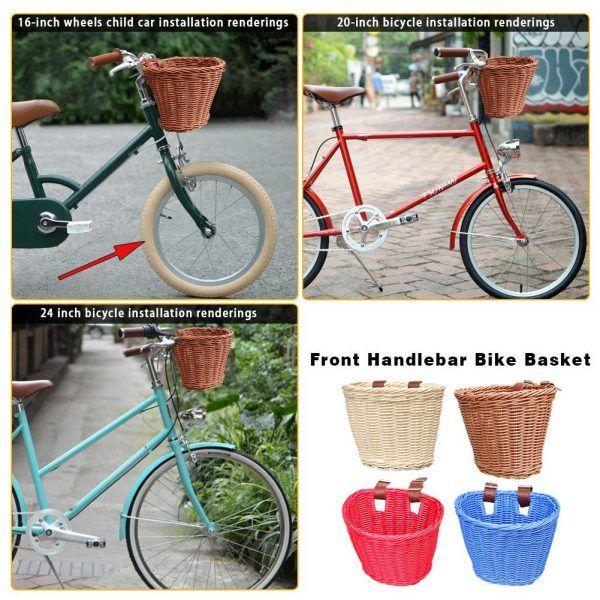 Cesta tejida a mano de ratán para manillar delantero de bicicleta para niños