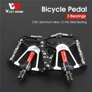 Pedales de bicicleta WEST BIKING de 1-2-3 rodamientos , ultraligeros antideslizantes CNC con rodamiento sellado