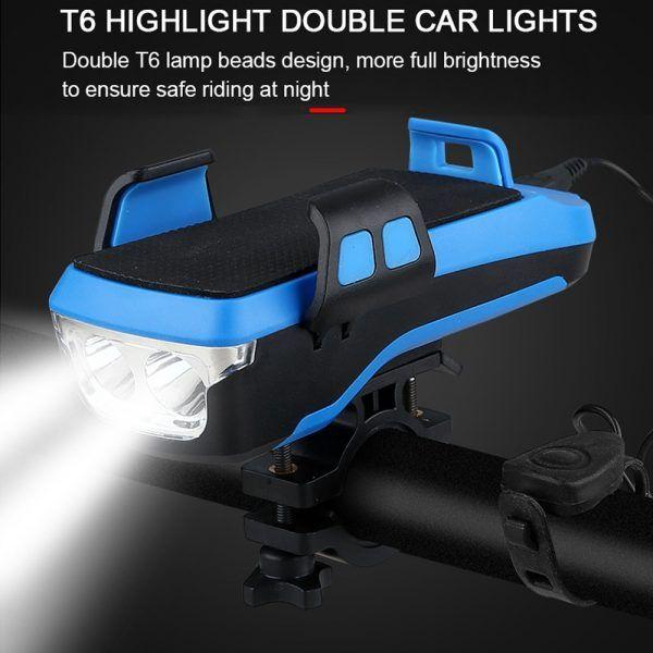 Luz Led frontal para bicicleta 5 en 1 FIVEMI, bocina Solar recargable vía USB, soporte para teléfono, linterna para bicicleta