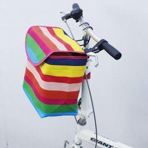 Cesta cubierta de bicicleta de lona plegable cesta delantera colgante cesta bolsas de almacenamiento para motocicleta vehículo eléctrico bolsas