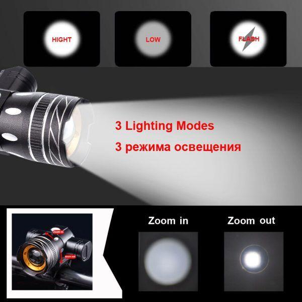 Luz LED para bicicleta NEWBOLER, iluminación de 5000mAh, 800 lúmenes, con Zoom, recargable con USB, accesorio de montaje para bicicleta