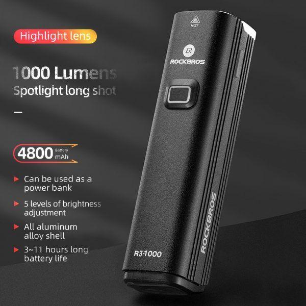 Linterna frontal LED para bicicleta ROCKBROS, faro impermeable de 4800mAh, recargable vía USB, 1000LM, para bicicleta de montaña y carretera