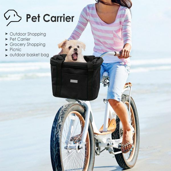 Cesta bolsa para bicicleta a prueba de agua para manillar delantero bolsa de transporte para mascotas
