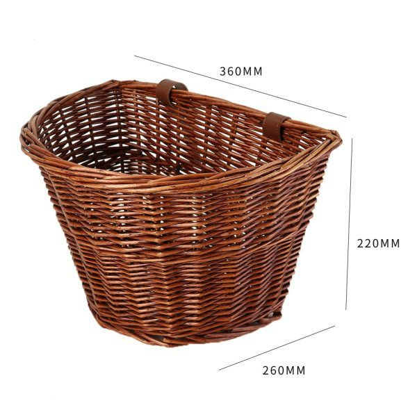 Canasta para bicicleta de ratán duradera, práctico contenedor de almacenamiento de manillar de bicicleta multifuncional