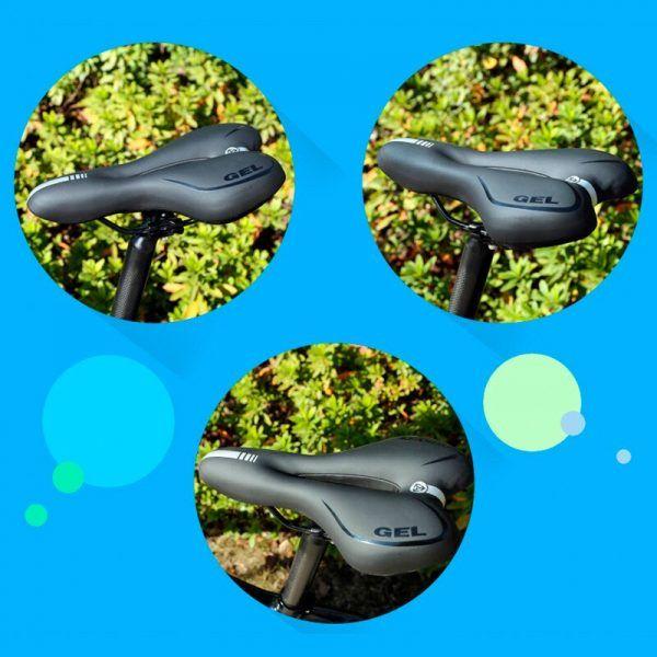 Sillín de bicicleta hueco absorbente de golpes de GEL PVC y tela suave