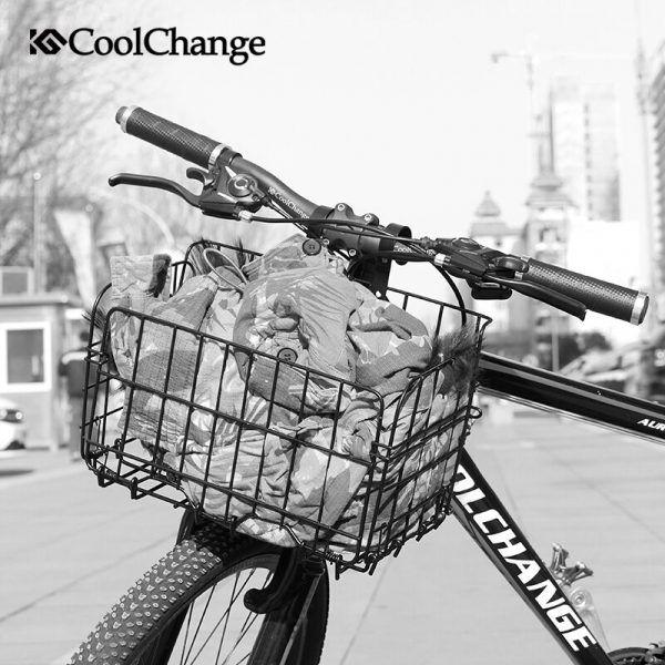 Cesta plegable para bicicleta de acero, cesta para almacenamiento de gran volumen