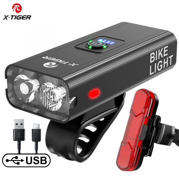 Luz para bicicleta X-TIGER, resistente a la lluvia, con carga USB, faro delantero, lámpara ultraligera de aluminio1200 lumen