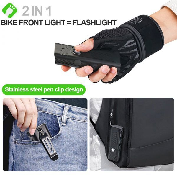Luz LED para bicicleta FIVEMI recargable por USB, linterna frontal de aluminio resistente al agua para ciclismo de montaña o carretera, 10000mAh, 5 x T10