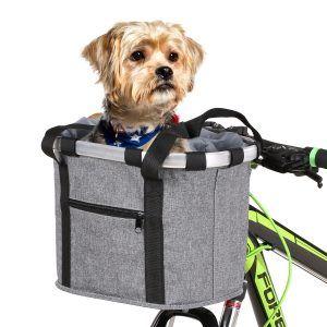 Bolsa de cesta para manillar de bicicleta hecha de aleación de aluminio para transporte de mascotas