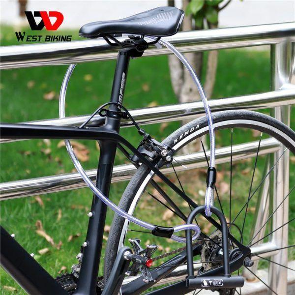 Bloqueo en forma de U West Biking para bicicleta con 2 llaves, bloqueo antirrobo de alta seguridad,