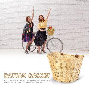 Cesta de mimbre para manillar de bicicleta, práctico, multifuncional y duradero. Se adapta a scooter